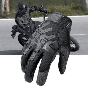 Black Motorcycle Full Finger Gloves Motocross Biker Cycling Riding Motorbike Protective Gear Moto Finger Glove Non-Slip Men New - Ding's Place