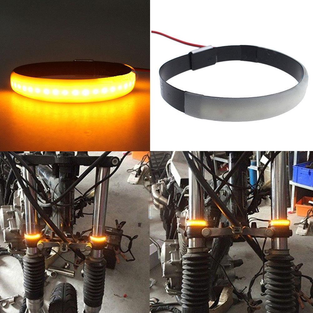 Amber LED Motorcycle Fork Light 120 Degree Viewing Angle Turn Signal Light Strip For Clean Custom Look - Ding's Place