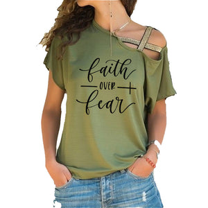 Faith Over Fear Women T-shirts Summer femme cotton Irregular Skew Cross Bandage Tops - Ding's Place