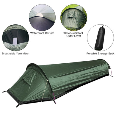 Lixada Ultralight Tent Backpacking Tent Outdoor Camping Sleeping Bag Tent Lightweight Single Person Bivvy BagTent - Ding's Place
