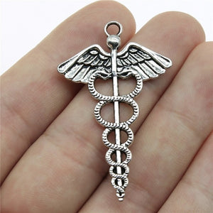 WYSIWYG 8pcs 49x30mm Pendant Caduceus Medical Symbol Caduceus Medical Symbol Charm Caduceus Medical Symbol Pendants - Ding's Place