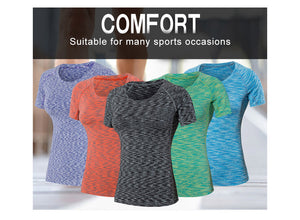 COLORFUL SERIES Women Yoga Shirts Fitness Short Sleeve T Shirt Gym Running Women's Quick Dry Tees - Ding's Place