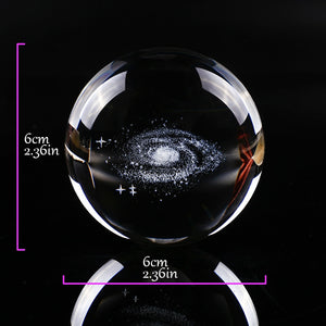 6CM Diameter Globe Galaxy Miniatures Crystal Ball 3D Laser Engraved Quartz Glass Ball Sphere Home Decoration Accessories Gifts - Ding's Place