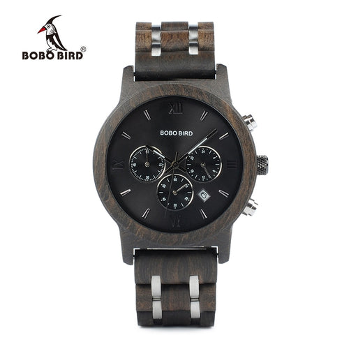 BOBO BIRD P19 Wooden Mens Quartz Watches Date Display Business Watch Ebony & Zebrawood Options Valentines Gift - Ding's Place