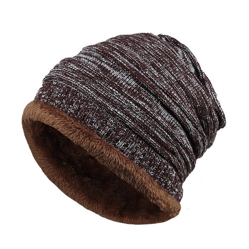 Mens Fleece Cap Baggy Winter Striped Cashmere Beanie Hat Fashion Women Knit Wool Hats Casual Unisex Skullies Beanies Warm Caps - Ding's Place