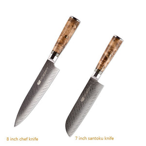 FINDKING 6 PCS AUS-10 Damascus Steel Sapele Wood Handle Arrow Pattern Damascus Knife Set 67 layers Chef Utility Paring  Knife - Ding's Place