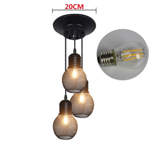 Vintage Grid Pendant Lamp E27 Base Iron Industrial Style Home Lighting Restaurant Living Room Bed Room Suspension Light fixture - Ding's Place