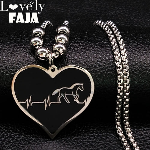 Long Bead Stainless Steel Statement Necklace Women Silver Color Heartbeat Horse Necklace Jewelry kettingen voor vrouwen N18456 - Ding's Place