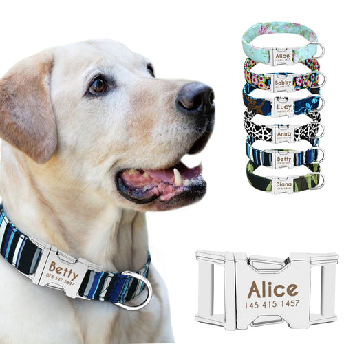 Dog Collar Personalized Nylon Small Dogs Puppy Collars Engrave Name ID for Small Medium Large Pet Pitbull German Shepherd - Ding's Place