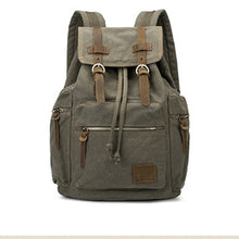Load image into Gallery viewer, Vintage Leather with Canvas Backpack  Laptop / Travel Book Bag - Ding's Place
