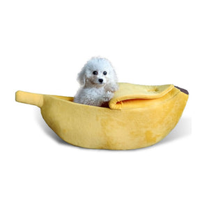 Banana Cat Bed House Cozy Cute Banana Puppy Cushion Kennel Warm Portable Pet Basket Supplies Mat Beds for Cats & Kittens - Ding's Place