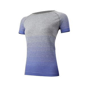 Gym Women's Sport Shirts Quick Dry Running T-shirt Sleeve Fitness Clothes Tees & Tops Deporte Mujer P096 - Ding's Place