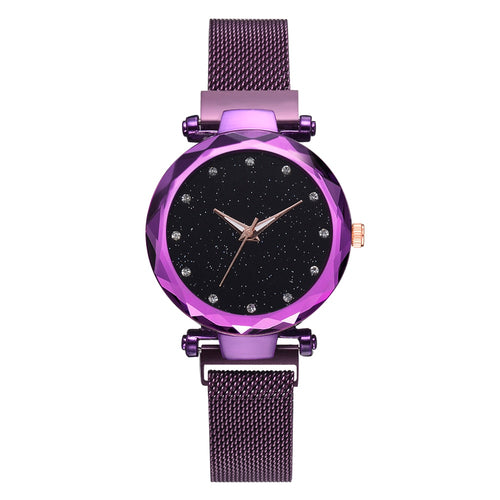 Luxury Mesh Magnet Buckle Starry Quartz Watches For Women - Ding's Place