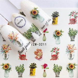 WUF Nail Stickers on Nails Horse Flower Stickers for Nails Lavender Nail Art Water Transfer Stickers Decals - Ding's Place