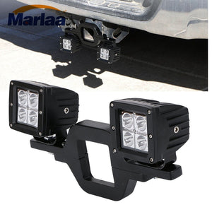 Left & Right 2pcs 16W LED Cube Off-Road Work Lights + 1pcs Tow Hitch Mounting Bracket for Jeep Truck 4x4 Trailer RV SUV - Ding's Place