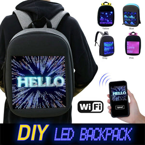 Fashion Waterproof WiFi Version Smart LED Screen Dynamic Backpack DIY Light City Walking Outdoor Climb Bags Advertising BackBags - Ding's Place