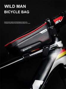 WILD MAN Mountain Bike Bag Rainproof Waterproof, Front Bag 6.2inch Mobile Phone Case Bicycle Top Tube Bag Cycling Accessories - Ding's Place