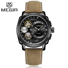 Load image into Gallery viewer, MEGIR Fashion Men Watch Top Brand Luxury Sport Quartz Wristwatches Leather Strap Army Military Watches Men Clock Erkek Kol Saati - Ding's Place
