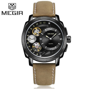 MEGIR Fashion Men Watch Top Brand Luxury Sport Quartz Wristwatches Leather Strap Army Military Watches Men Clock Erkek Kol Saati - Ding's Place