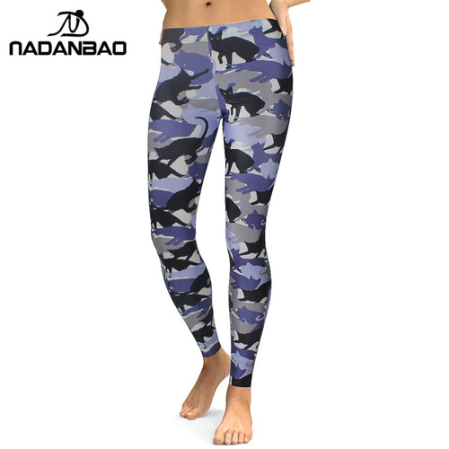 NADANBAO 2019 Leggings Women Animal Cat Legging Digital Print Fitness Leggins Slim High Waist Plus Size Workout Pants Legins - Ding's Place