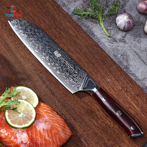 FINDKING 6 PCS AUS-10 Damascus Steel Rosewood Wood Handle Damascus Knife Set 67 layers Chef Utility Fruit Knife - Ding's Place