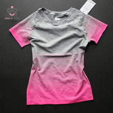 Load image into Gallery viewer, Gym Women's Sport Shirts Quick Dry Running T-shirt Sleeve Fitness Clothes Tees & Tops Deporte Mujer P096 - Ding's Place