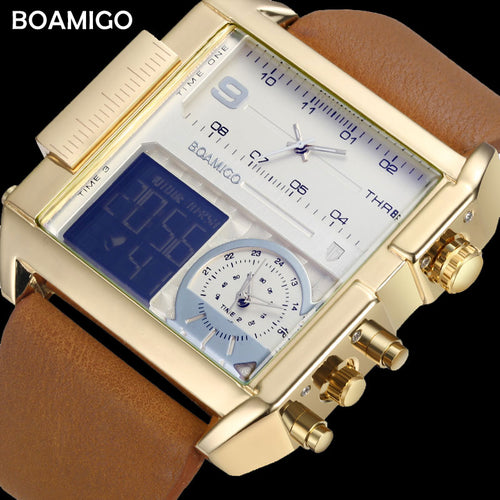 BOAMIGO Top Luxury Brand Me Sports Watches Man Military chronograph digital Watch Leather Quartz Wristwatches Relogio Masculino - Ding's Place