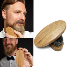 Load image into Gallery viewer, Men Boar Hair Bristle Beard Mustache Brush Military Hard Round Wood Handle Comb - Ding's Place