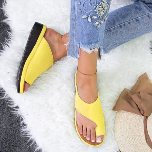Women PU Leather Shoes Comfy Platform Flat Sole Ladies Casual Soft Big Toe Foot Correction Sandal Orthopedic Bunion Corrector - Ding's Place