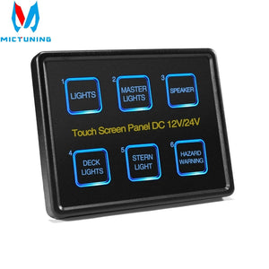 Mictuning 12V/24V Touch Screen Switches Panel 6 Gang LED Switch Panel Slim Touch Control Panel Box for Car Marine Boat Caravan - Ding's Place