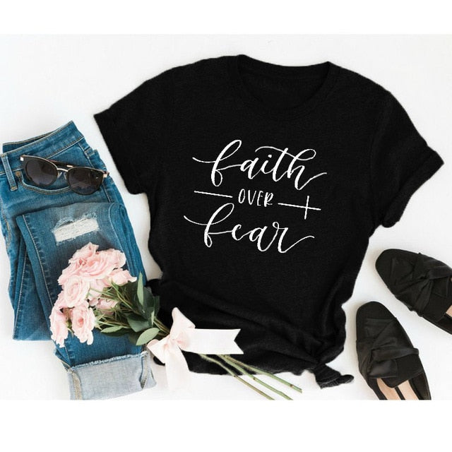 Faith Over Fear Christian T-Shirt Religion Clothing For Women Faith Shirt Graphic Fearless Slogan Vintage Grunge Tops Girl tees - Ding's Place