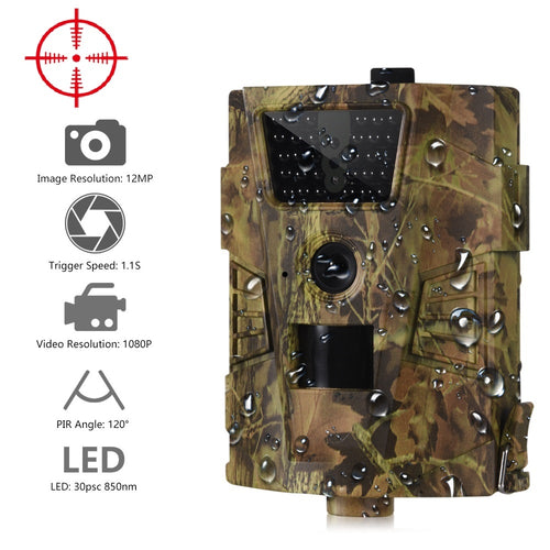 Suntekcam HT-001B Trail Camera 12MP 1080P 30pcs Infrared LEDs 850nm Hunting Camera IP54 Waterproof 120 Degree Angle Wild Camera - Ding's Place