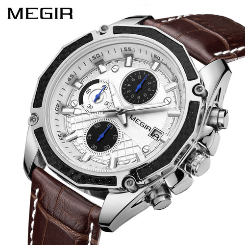 MEGIR Official Quartz Men Watches Fashion Genuine Leather Chronograph Watch Clock for Gentle Men Male Students Reloj Hombre - Ding's Place