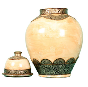 Moroccan Ceramic Pottery Vase And Cover