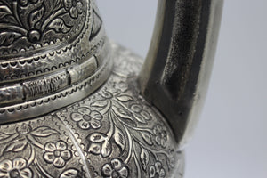 Tall Silver Hand Engraved Vase