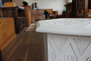White Konjic Hand-carved Stool