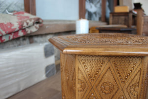 Hand-carved Konjic Stool