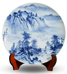 Blue-and-white Bridge and River Ceramic Plate