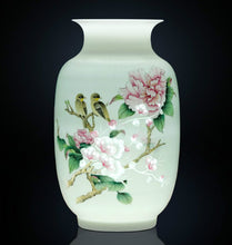 Load image into Gallery viewer, Birds on Peony Porcelain Vase