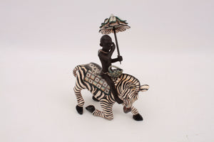 Zebra Rider Sculpture
