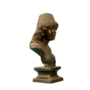 African Woman Metal Bust