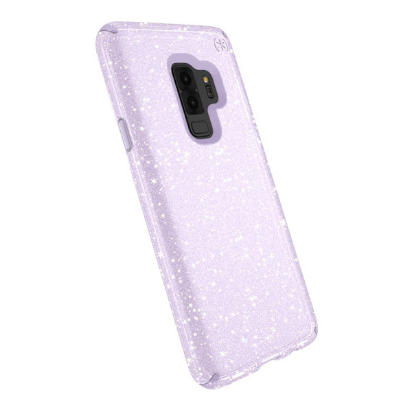 Speck Presidio Clear+Glitter for Samsung Galaxy S9 Plus - Geode Purple With Gold Glitter