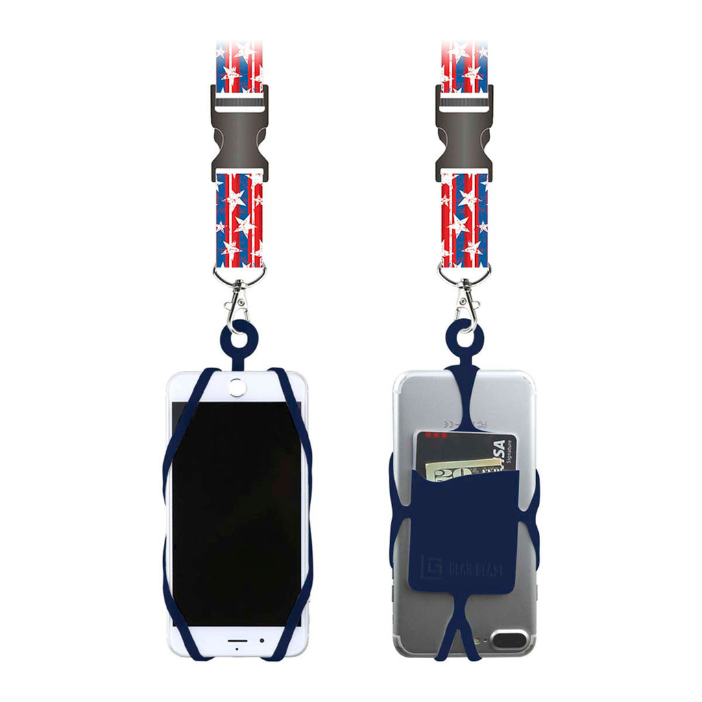 Gear Beast Universal Smart Phone Lanyard Neck Strap With Safety Clasp - Flag/Navy