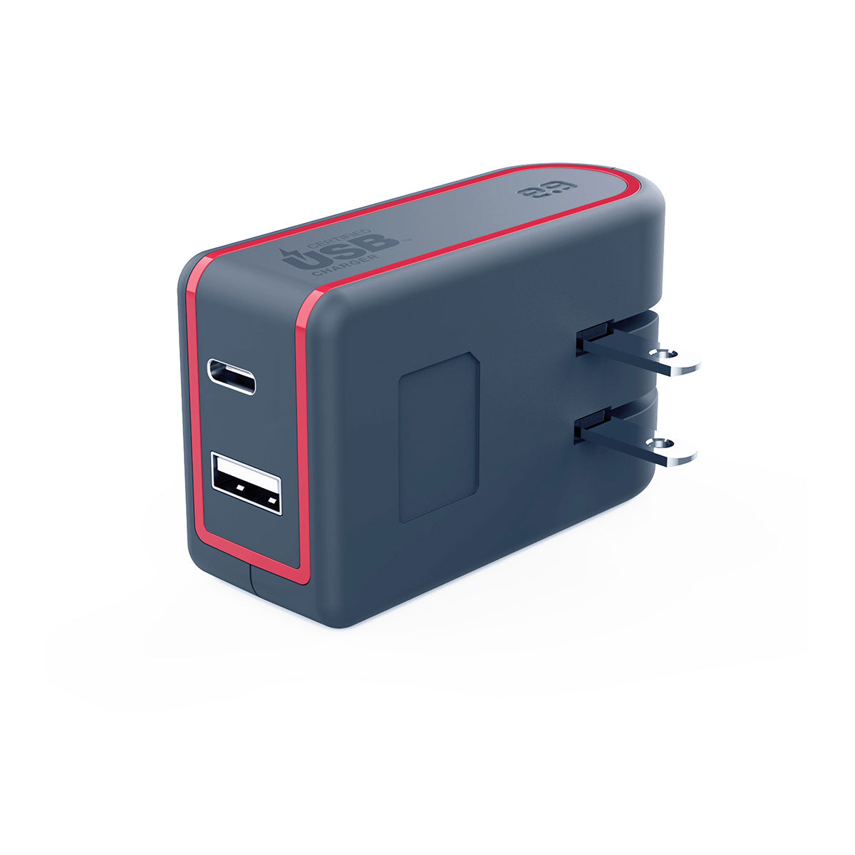 Puregear Universal 57W Dual USB A+PD 2.0 Wall Charger - Gray/Red
