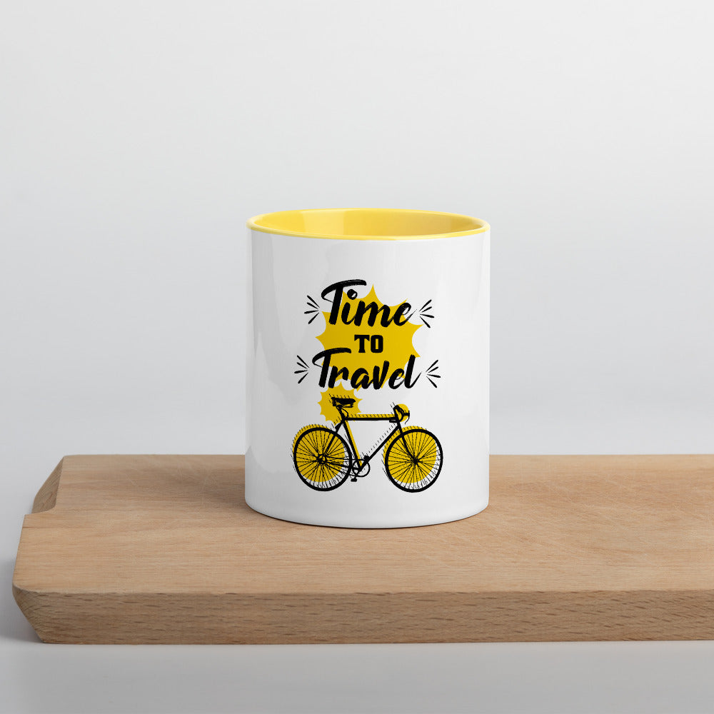 (TIME TO TRAVEL) Mug à Intérieur Coloré