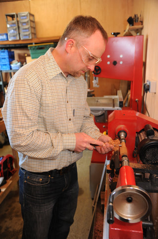 Phil hard at work on the lathe