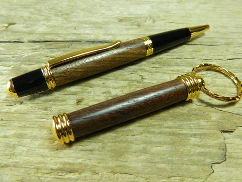 Gift Set Featuring Needham Twist Walnut Ballpoint and Matching Keyring