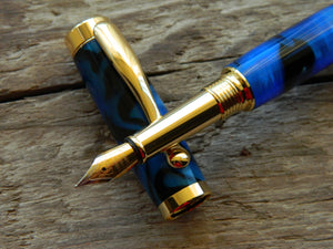 Suffolk Regent Fountain Pen Black/Blue Acrylic