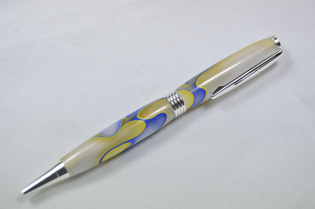 Southwold Twist Ballpoint Silver Yellow/Blue/White Acrylic