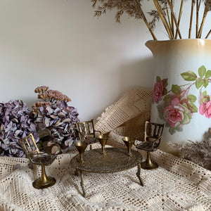 Vintage miniature brass table, chairs & cup set